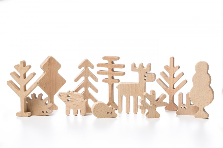 Forest animals and trees set